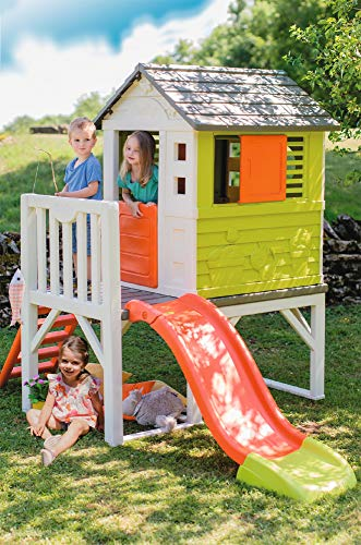 The Smoby House On Stilts stands out because it boasts what other playhouses in this list don't have - a slide, ladder and porch. Children will love hanging out in this playhouse since it looks like home to them and they can do different things at the same time. Built on a raised platform, the playhouse gives children stunning views of everything around them. The plastic construction itself will last for years and it's a good thing your kids can grow with this playhouse.