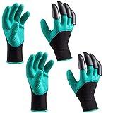 Garten Handschuhe kittec Gummi Latex Garten GE Handschuhe mit Kralle Fingern für Garten Kinderzimmer Graben Bepflanzen (2 Paar)
