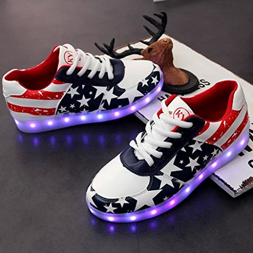 DoGeek -Chaussure Baskets Lumineuse Homme Femme -7 Couleurs LED Rouge