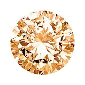 Quiges Austauschbare Mini Coin 12mm Wechselstein Champagne Rund Zirkonia für Ringe-Ohrringe-Anhänger-Armband Halter