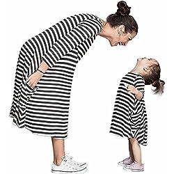 Tomsent Verano Casual Moda Mamá Y Hija O-Cuello Negro Vestido Rayas Blancas Vestido de La Familia Fiesta Partido de Tarde Raya ES 38 (Mamá)