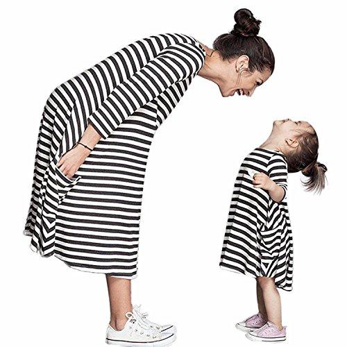 Tomsent Mutter und Tochter Schwarz Weiß Gestreiften Kleid mit Familie Kleid Shirts Beiläufige 3/4-Arm Sommerkleid Partykleid Gestreifte 110 (Mädchen) (Marine-blau-jersey Drucken)