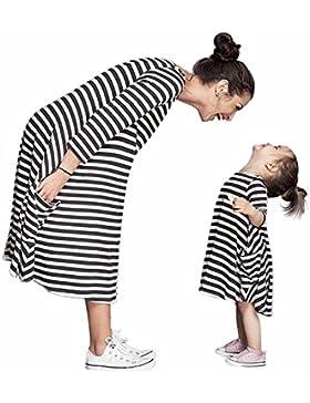 Tomsent Elegante Vestito Per Madre e Figlia Vestire Casual Genitore-Bambino Strisce Famiglia Abito da Partito...