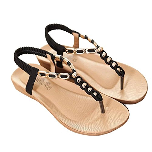 DM&Y 2017 scarpe basse Bohemian perline grandi sandali donne di formato Black