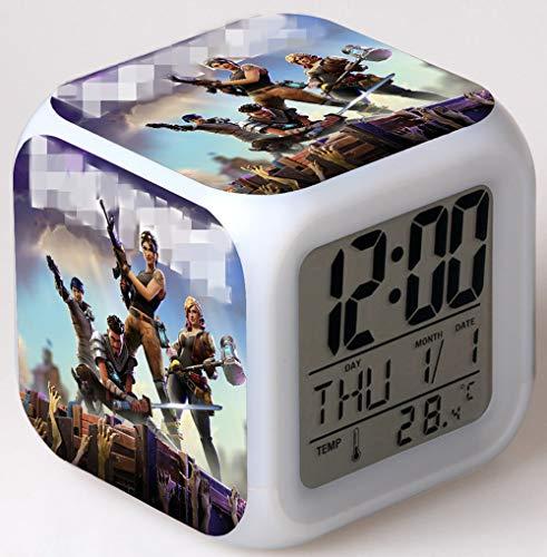 7 colores LED reloj despertador para niños parte amantes Touch de luz nocturna, función de repetición, pantalla LCD de visualización de tiempo, fecha, Temperatura Digital Clock regalo de cumpleaños