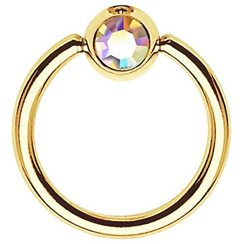 Piersando BCR Piercing Ring Universal Klemmring mit Zirkonia Kristall Klemm Kugel für Septum Brust Tragus Helix Nase Lippe Ohr Intim Nippel Chirurgenstahl Gold Rainbow 1,2mm x 10mm x 4mm