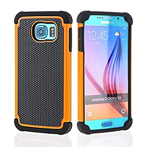 Galaxy S6 Case,OHOH Samsung Galaxy S6 Case,[Shockproof] [Drop Protection] Premium Soft Silicon&Plastic Dual Layer Armor Full-Body Super Protection Case with Impact Resistant Shock Absorbent Soft Silicon Back Shell for Samsung Galaxy S6 (Orange)