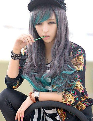 Mode Perücken WIGSTYLE die neuen Lattichanimeperücke Zeichen langen lockigen Perücke blauen Gradienten Charakter Haarperücken (Charakter Perücken Langen Lockigen)
