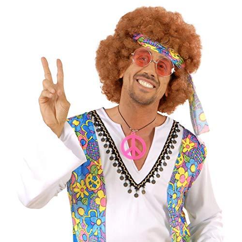 Hippie Brille John Lennon Hippiebrille Rosa runde Sonnenbrille Retro 74er Jahre Retrobrille 64er Jahre Partybrille Flower Power Mottoparty Accessoire Karnevalskostüme Zubehör
