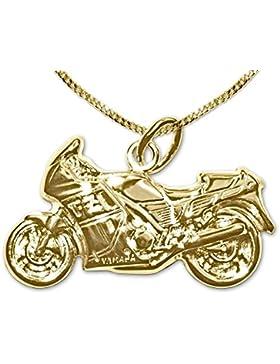 CLEVER SCHMUCK-SET Goldener Anhänger Motorrad 23 x 13 mm plastisch geformt 333 GOLD 8 KARAT und vergoldete Kette...