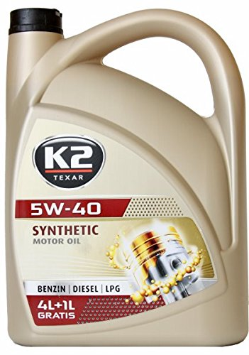 K2 Motoröl, 5W-40, vollsynthetisch, geeignet für Benzin- und Dieselmotore oder Flüssiggasmotore, mit Nanotechnologe, folgende Normen werden unterstützt. ACEA: A3/B3/B4, API: SL/CF, Mercedes Benz: MB 229.3 und Volkswagen VW 502.00 und VW 505.00, 5L