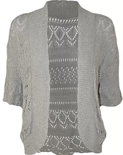 Neue Damen Plus Größe Long Knit Bolero Häkel Cardigan Jumper Tops 16-26, Tunika, Grau (Cardigan Crochet Knit)