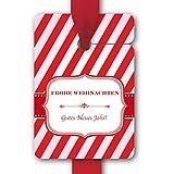 Weihnachts Geschenk Anhänger, Papieranhänger, Geschenk Karten (8Stk) universal Hänge Etiketten zu Weihnachten im Zuckerstangen Look: Frohe Weihnachten Gutes Neues Jahr!