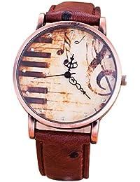 MODIWEN - Reloj para mujer, diseño de piano y notas musicales, estilo vintage retro, movimiento de cuarzo, correa de cuero, impermeable