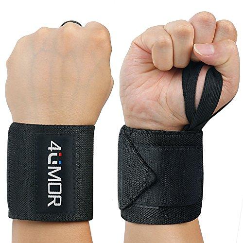 4UMOR Handgelenk Bandagen [2er Set], Wrist Wraps - 60 cm Handgelenkbandage für Fitness, Bodybuilding,Powerlifting,Kraftsport,Crossfit & Gewichtheben- für Frauen und Männer (Schwarz)