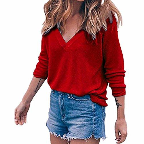 Kanpola Damen Pullover Langarm V Ausschnitt Tops Beiläufig Elegant (S, Rot) (Koch Pullover Tunika)