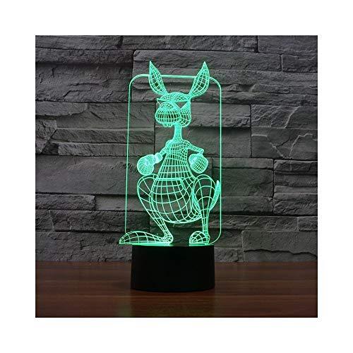 Sonnenbrille Känguru-Nachtlicht Illusionslampe Nachttischlampe, 7 Farben ändern Touch-Schalter Schreibtisch Dekoration Lampen Geburtstag Weihnachtsgeschenk mit Acryl Flat & ABS Base & USB-Kabel