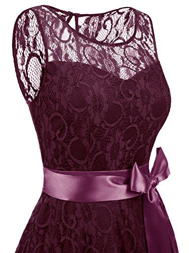 IVNIS Damen Vintage Floral Kleider Brautjungfernkleider Spitzenkleid Ärmellos Fliege Partykleid Burgundy