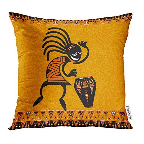 Telo copridivano Arancione Africa Tribale Danza Figura con Tamburo Africano Sud-Ovest Decorativo Federa casa Arredamento Quadrato x es Federa 18 x 18 Pollici