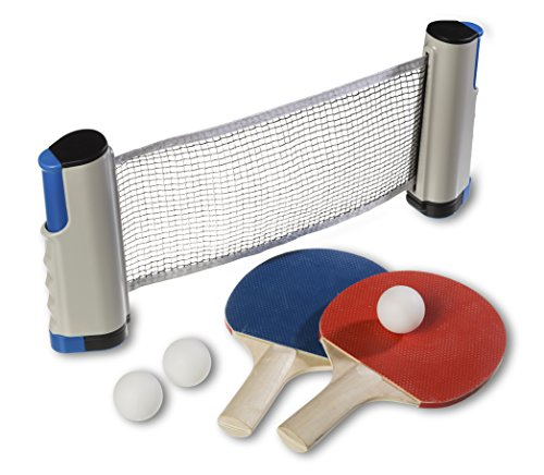 :D-Sports Tischtennisset + ausziehbares Netz, 2 Tischtennisschläger, 3 Tischtennisbälle mit Praktischer Tragetasche | Pingpong set