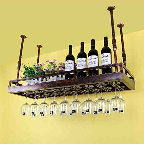 Iron Retro Industrial Style Bar Restaurante Colgante Titular de la Copa Barra Decoración de los Estantes de Vino Titular de la Copa de Vino Colgante Titular de la Copa ( Color : Marrón , Tamaño : 100*35cm )
