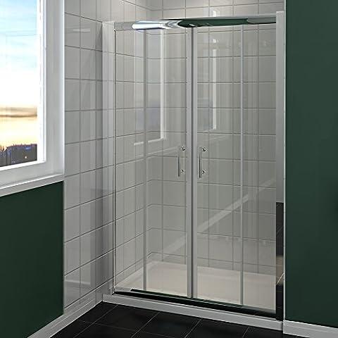 1500mm Chrome Double Sliding Shower Door Enclosure Cubicle Glass Screen Door