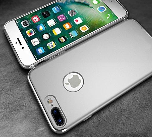 """MOONCASE iPhone 7 Plus Coque - Placage Détachable Design PC Trois-Pièces Slider Antichoc Etui Rigide Case pour iPhone 7 Plus 5.5"""" Bleu Argent"""