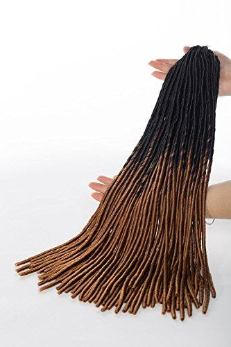 oks Crochet Twist Hair Zöpfe Synthetic Full Head Hair Extensions fauxlocs Faser Flechten Haar Kinky Weich Dread Dreadlocks für Frauen (1Packungen, dark schwarz zu Light Braun) (Haarspangen Für Dreads)