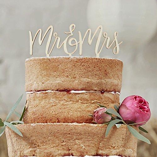Preisvergleich Produktbild Cake Topper Mr & Mrs Holz