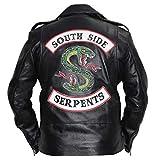 SAMA Brands Herren Riverdale Southside Serpents Schwarze Leder Bikerjacke - Riverdale Southside Serpents Real Leather Biker Jacket (M-Fit für 41-42 Zoll tatsächliche Brustgröße)