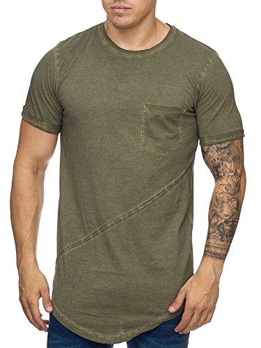 Cabin Oversize Herren Vintage Rundhals T-Shirt Basic Schlicht Khaki