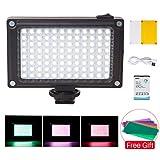 Lampe vidéo de Poche à Del Rechargeable sur l'appareil Photo avec Batterie 2500 mAh et filtres réglés pour Une luminosité réglable pour Les appareils Photo Reflex Canon Nikon Sony Pentax
