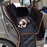 Anself Autoschondecke Hängematte Auto Hundedecke Rundumschutz mit orange Rand und 2 Seitenklappen147x137cm
