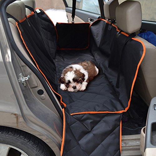 Anself Autoschondecke Hängematte Auto Hundedecke Rundumschutz mit orange Rand und 2 Seitenklappen147x137cm (Für Rückbank Lkw Hängematte Hund)
