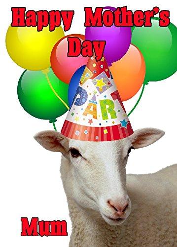 Schaf Happy Mother 's Day Party Hat Karte chmd271personalisierbar Grüße