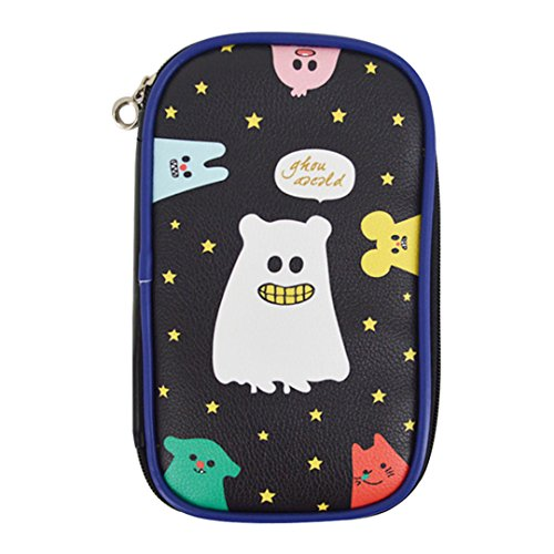 ngsvermögen stationären Fall Reißverschluss Dancing Halloween Ghost Aufbewahrungsbox Stift Bleistift Tasche aus Leder Einheitsgröße schwarz (Halloween-stationär)