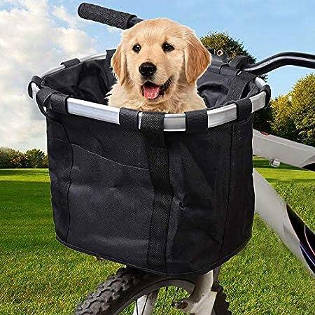 Fahrradkorb, zusammenklappbar, abnehmbar, einfach zu installieren, schnell zu lösen, für kleine Haustiere, Katzen, Hunde…