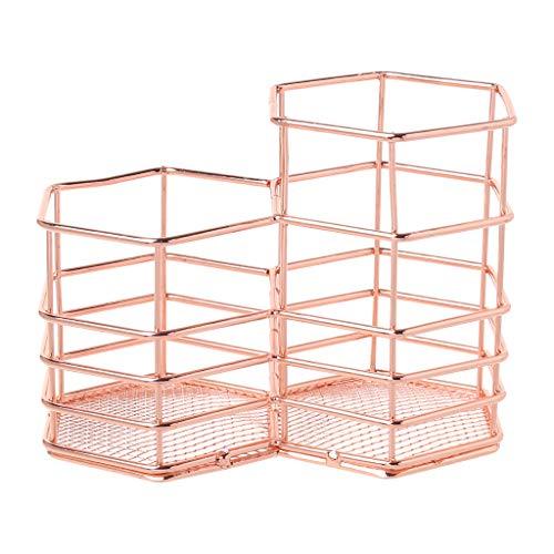 FKY Stifthalter Nordic Style Makeup Storage Box Double Hexagon Case Brush Pen Holder Organizer Iron Storage Basket -