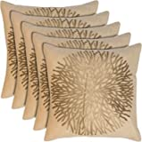 #7: Cusion Cover Blue Eye Golden Leaf Print Velvet Cushion Cover Set of 5 - (12X12 in :: Cream)