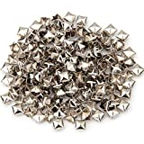 NiceButy 200 PCS 6mm Pyramid Stud Golden Square-Bolzen-Niet 4 Fork Platz DIY Bolzen-Punk Studs DIY Tools