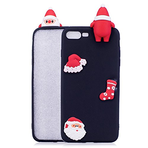iPhone 7 Hülle, Iphone 7 Hülle Silikon, 7 Hülle Case, SpiritSun Handyhülle Iphone7/8 plus Etui Protective Case Cover TPU Silikon Softcae Fall Backcover Case Handy Schutzhülle Slimcase Motiv Weihnachte Schwarzes Weihnachten