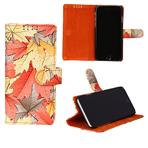 swankmobilecovers Wallet Flip Cover for Microsoft Lumia 535(LEAF-ORANGE)