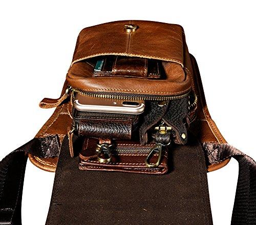 Genda 2Archer Bumbag Borsa in Tracolla in Pelle Vintage Borsa Fanny Borsa Gamba (Rosso Marrone) Marrone Giallo