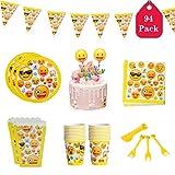 Amycute Set da 94 Pezzi di Emoji Decorazioni, Piatti, tovaglioli, Posate plastica,Bicchieri Carta,Scatole di Popcorn,Bandiera Triangolare,Inserimento Torta Happy Birthday, per 20 Persone