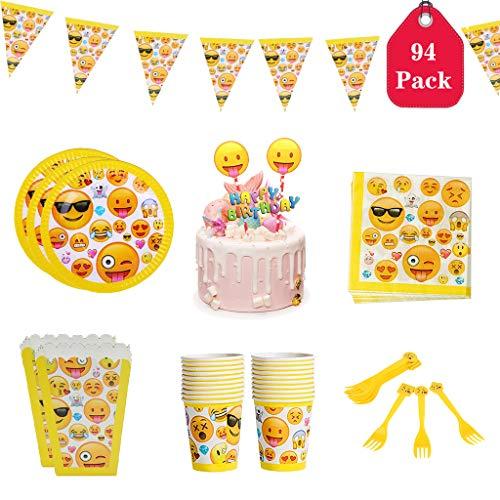 Party-Set Emoji Kindergeburtstag Partydekoration mit Banner, Pappteller, Tassen, Servietten und Emoji Cake Topper, Geburtstagsfeier Zubehör für 20 Personen. ()
