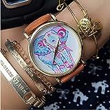 Relojes Hermosos, Elefante cuero del reloj de las mujeres del reloj relojes novio reloj unisex reloj reloj de flores de hibisco polca verde azulado de los ( Color : Verde , Género : Para Mujer )