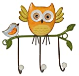 Unbekannt 1 Stück: Garderobenhaken Eulen aus Metall - Wandhaken Kindergarderobe mit 3 Kleiderhaken Kind Wandgarderobe - für Innen und Außen - Bunte Eule Vögel Tiere