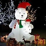 CCLIFE Led Schneemann Beleuchtet Aufblasbar snowman outdoor Außenbereich Schneemänner Weihnachtsbeleuchtung weihnachtsdeko Weihnachtsfigur, Farbe:Mama Bär und Kind
