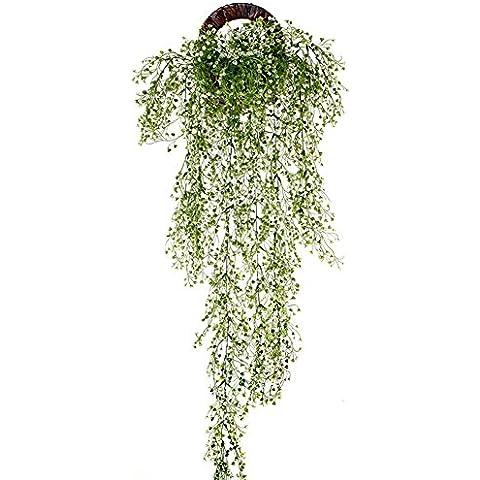 Remeehi follaje Artificial flores Vine ratán guirnalda plantas de hojas colgante de pared de boda Sala de estar balcón decoración, Blanco, 1 Large