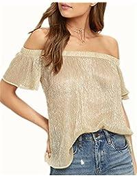 YOGLY Camisetas Mujer Verano Blusas T Shirt Cmisetas con Mangas Cortas de Color Sólido Ocasional Atractiva